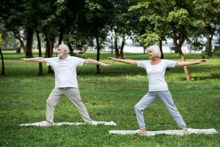 Photo pour Senior couple pratiquant guerrier II pose tout en se tenant debout sur des tapis de yoga - image libre de droit
