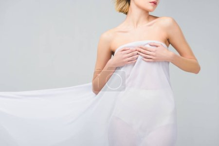 Photo for Cropped view of nude woman posing in elegant white veil, isolated on grey - Royalty Free Image