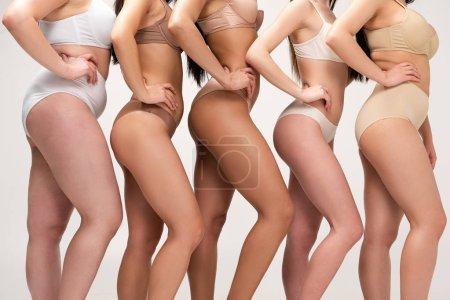 Foto de Vista recortada de cinco mujeres multiétnicas en ropa interior posando con las manos en las caderas aisladas en gris, concepto de positividad de cuerpo - Imagen libre de derechos