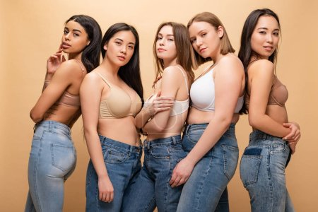 Photo for Five beautiful multicultural girls posing at camera isolated on beige, body positivity concept - Royalty Free Image