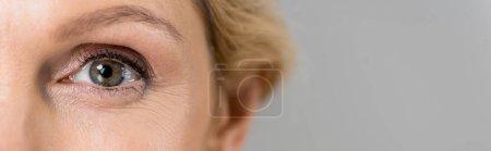 Photo pour Plan panoramique de femme mature regardant la caméra isolée sur gris - image libre de droit