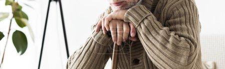 Photo pour Plan panoramique de l'homme à la retraite tenant bâton de marche - image libre de droit