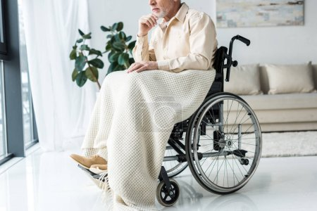 Photo for Cropped view of pensive disabled senior man in wheelchair at home - Royalty Free Image