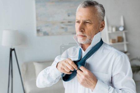 Photo pour Grave et élégant homme âgé attacher cravate bleue à la maison - image libre de droit