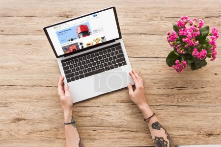 partial view of woman at tabletop with laptop with ebay website and kalanhoe plant in flowerpot