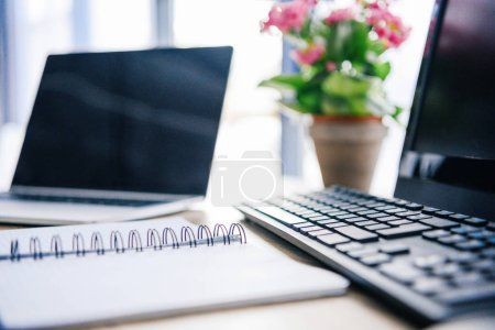 Photo for Closeup shot of empty textbook, laptop, flowers in pot, computer, computer keyboard and computer mouse at table - Royalty Free Image