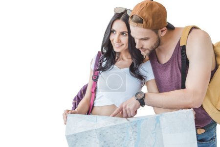 couple of tourists pointing and looking at map, isolated on white