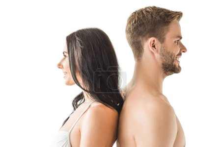 beautiful couple standing back to back, isolated on white