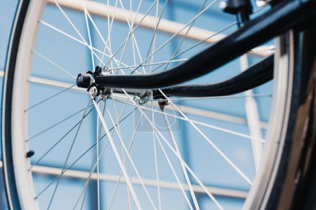 Photo for Close-up view of bicycle wheel with tyre, selective focus - Royalty Free Image