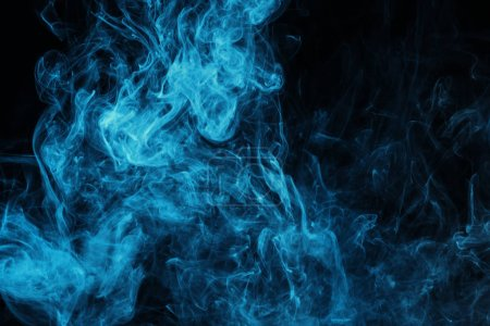 blue mystical smoke on black background