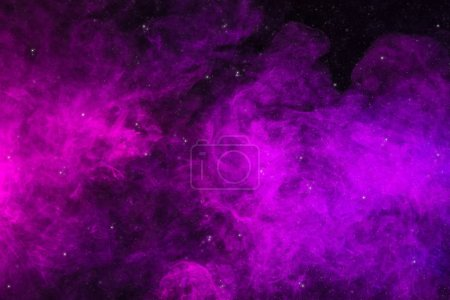 Photo for Pink and purple smoke on black background as universe with stars - Royalty Free Image