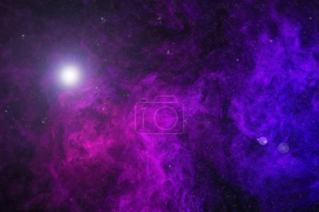 Photo for Beautiful universe with purple smoke, stars and glowing light - Royalty Free Image