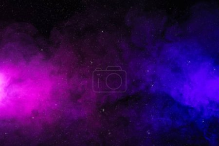Abstract pink and purple smoke on black background as space with stars