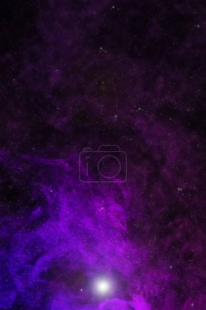 Photo for Beautiful universe background with violet smoke, stars and glowing light - Royalty Free Image