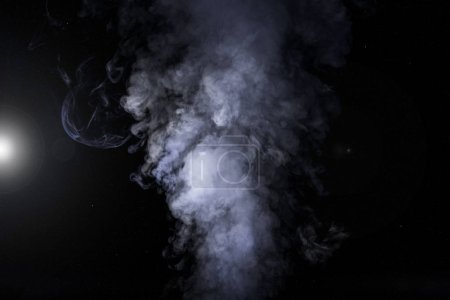 Photo for Abstract white smoke and light on black background - Royalty Free Image