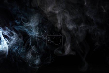 Photo for Abstract background with grey smoky swirl on black - Royalty Free Image