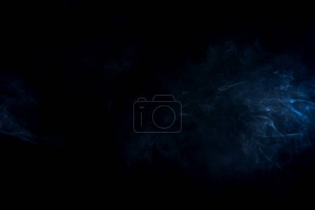 Photo for Blue abstract smoke on black background with copy space - Royalty Free Image