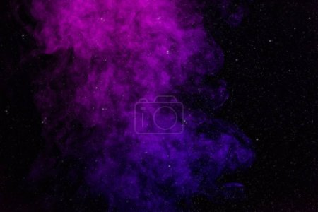 black background with purple, pink smoke and stars