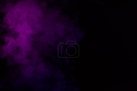 mystical abstract black background with violet steam