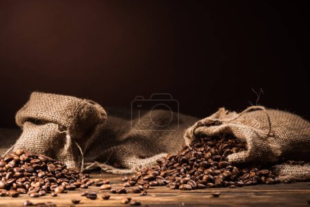 sacks of coffee beans on rustic wooden table on dark brown background
