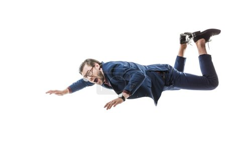 businessman in suit and eyeglasses screaming while falling isolated on white