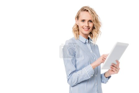 Photo for Attractive woman using tablet and looking at camera isolated on white - Royalty Free Image