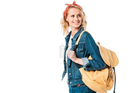 attractive woman with bag looking away isolated on white