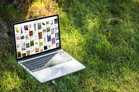 Photo for Close up view of laptop with pinterest website on grass outdoors - Royalty Free Image