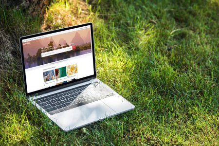close up view of laptop with shutterstock website on grass outdoors