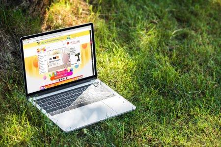 Photo pour Bouchent la vue de portable avec aliexpress site Web sur l'herbe en plein air - image libre de droit