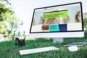mise au point sélective du manuel et ordinateur avec site de science de bbc sur l'herbe en plein air
