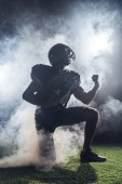 young american football player standing on knee on green grass and raising fist in white smoke