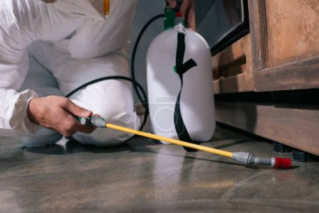 cropped image of pest control worker spraying pesticides on floor in kitchen
