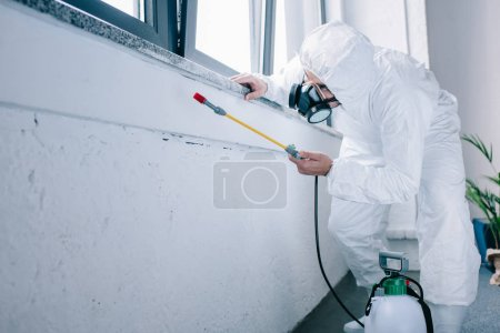 pest control worker spraying chemicals under windowsill at home