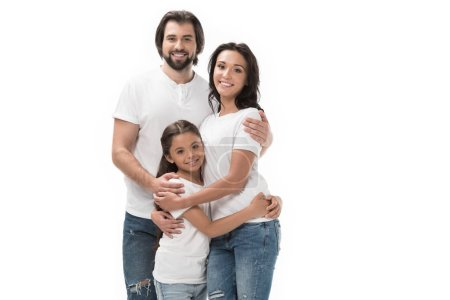 portrait of happy family in white shirts and jeans isolated on white