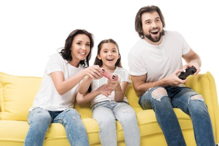 portrait of happy family playing video games together isolated on white