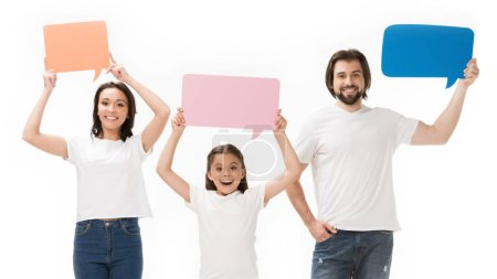 portrait of cheerful family with blank colorful speech bubbles isolated on white