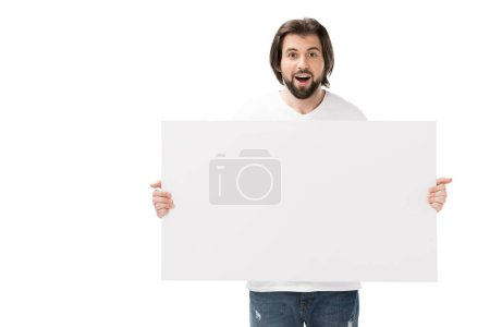 portrait of shocked bearded man with blank banner in hands isolated on white
