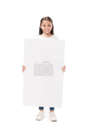 Photo for Smiling child with blank banner in hands looking at camera isolated on white - Royalty Free Image