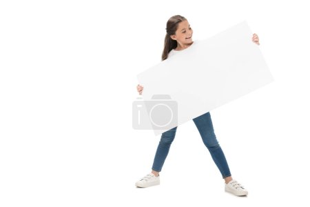 smiling child with blank banner in hands isolated on white