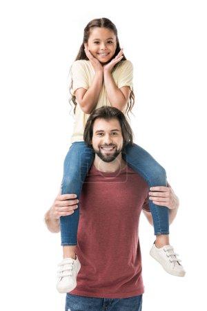 Photo pour Joyeuse fille assise sur le cou de pères isolé sur blanc - image libre de droit