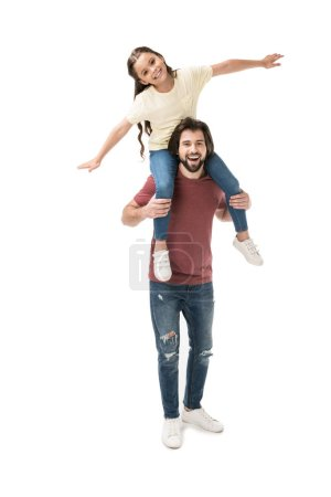 cheerful daughter sitting on fathers neck isolated on white