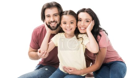 portrait of happy family looking at camera isolated on white