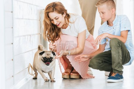 happy mother palming adopted pug dog in corridor of at animals shelter