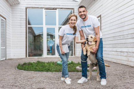 smiling volunteers of animals shelter palming labrador and looking at camera
