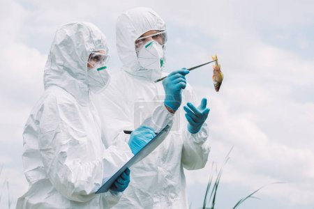 scientists in protective masks and suits examining fish and writing in clipboard against cloudy sky