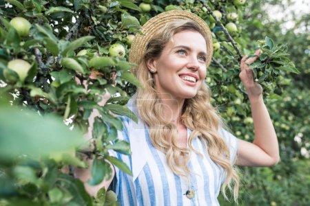 beautiful woman in straw hat posing near apple tree in garden