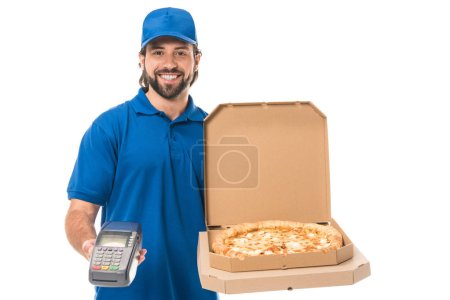 Photo for Happy delivery man holding pizza in boxes and payment terminal, smiling at camera isolated on white - Royalty Free Image