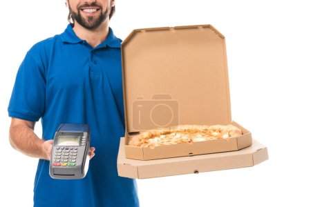 cropped shot of smiling delivery man holding pizza in boxes and mobile terminal isolated on white