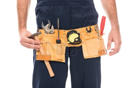 cropped shot of repairman wearing tool belt isolated on white